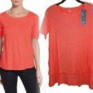 $138 Eileen Fisher Hemp & Organic Cotton Top XXSmall 0 Flora Pink Vented Step Hem