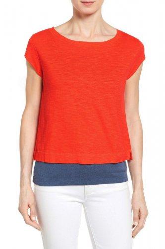 Eileen Fisher Ballet Neck Button Back Crop Top Medium 10 12 Sunburst Orange