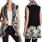 Nanette Lepore Paisley Fly Away Boiled Wool Sweater Vest One Size Black & Cannoli Cream