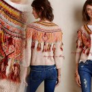 $168 Anthropologie Spiced-up Cardigan Petite Small PS Fringe Croped Sweater