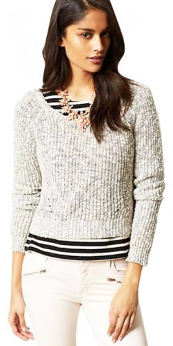 Anthropologie Dara Midi Pullover Sweater Top XLarge 12 14 Blue Motif Italy