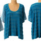 Anthropologie Open Eyelets Pullover XSmall 0 2 Turquoise Blue Oversized Top