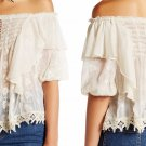 $168 Free People Ruffled Cloud Blouse Small 2 4 Ivory Off the Shoulders Embroidered
