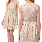 Anthropologie Wound Copper Dress p12 Petite Large Ivory Fit n Flare Sequins