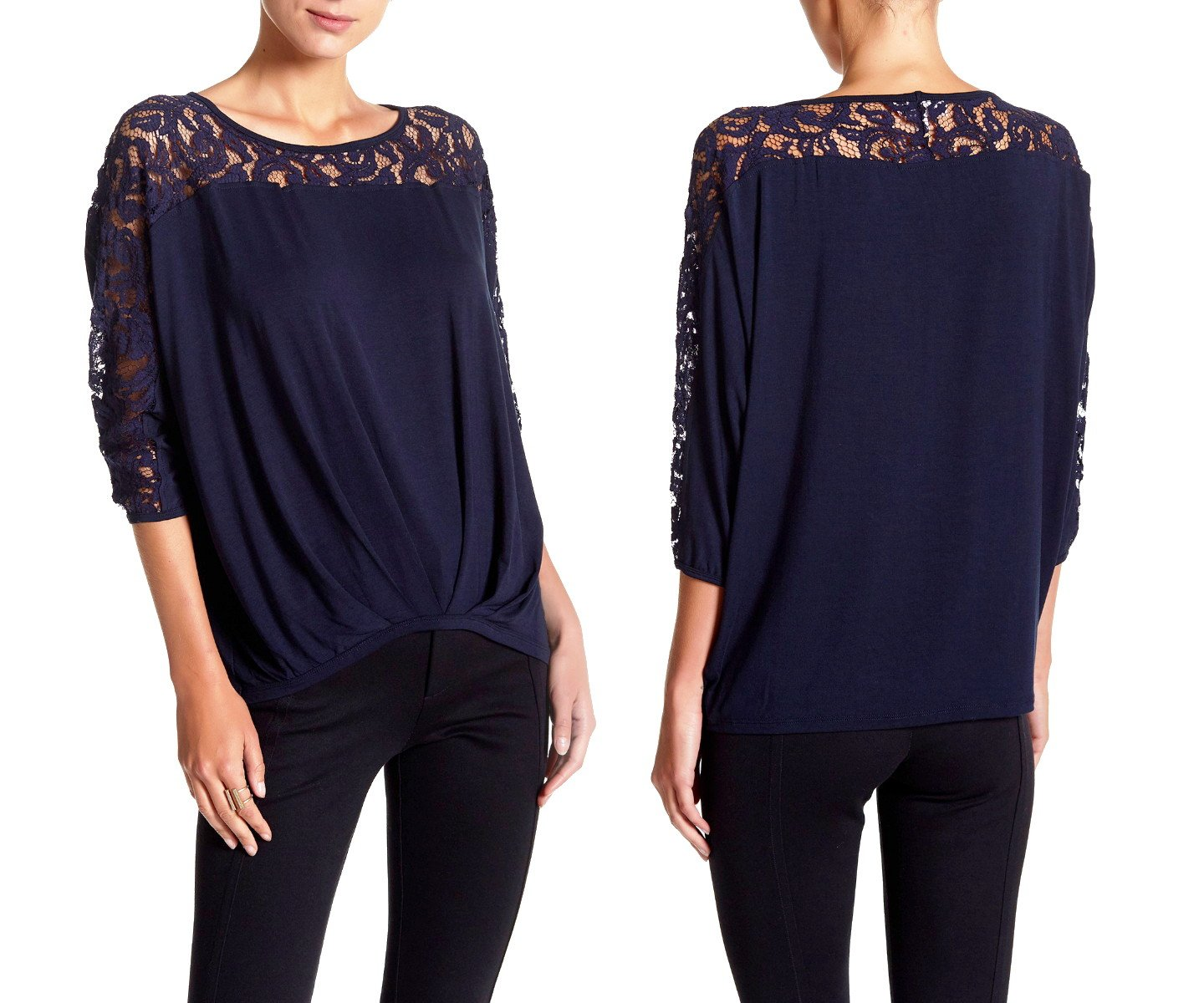 Nanette Lepore Lace Inset Blouson Tee Large 10 12 Dark Navy Shirt Top