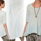 Anthropologie High-Low Peplum Pullover Top Shirt Small 2 4 Sky Blue NWT Left of Center USA