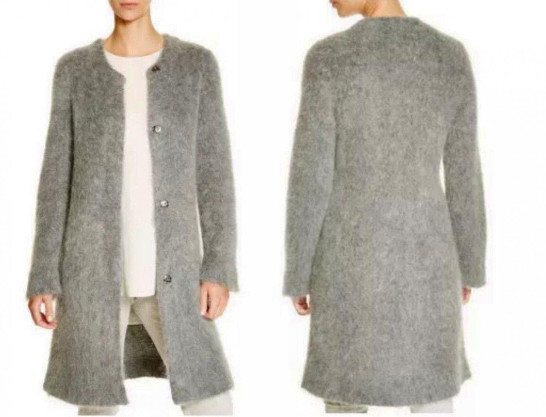 $498 Eileen Fisher Vissonie Mohair Blend Long Cardigan Petite Medium Ash Grey NWT