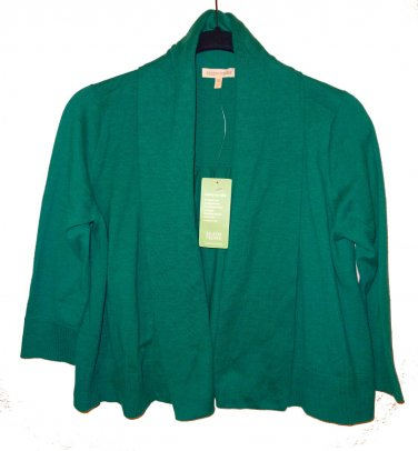 $218 Eileen Fisher Organic Cotton Knit Cardigan Small 2 4 Lagoon 3/4 Sleeve Cropped