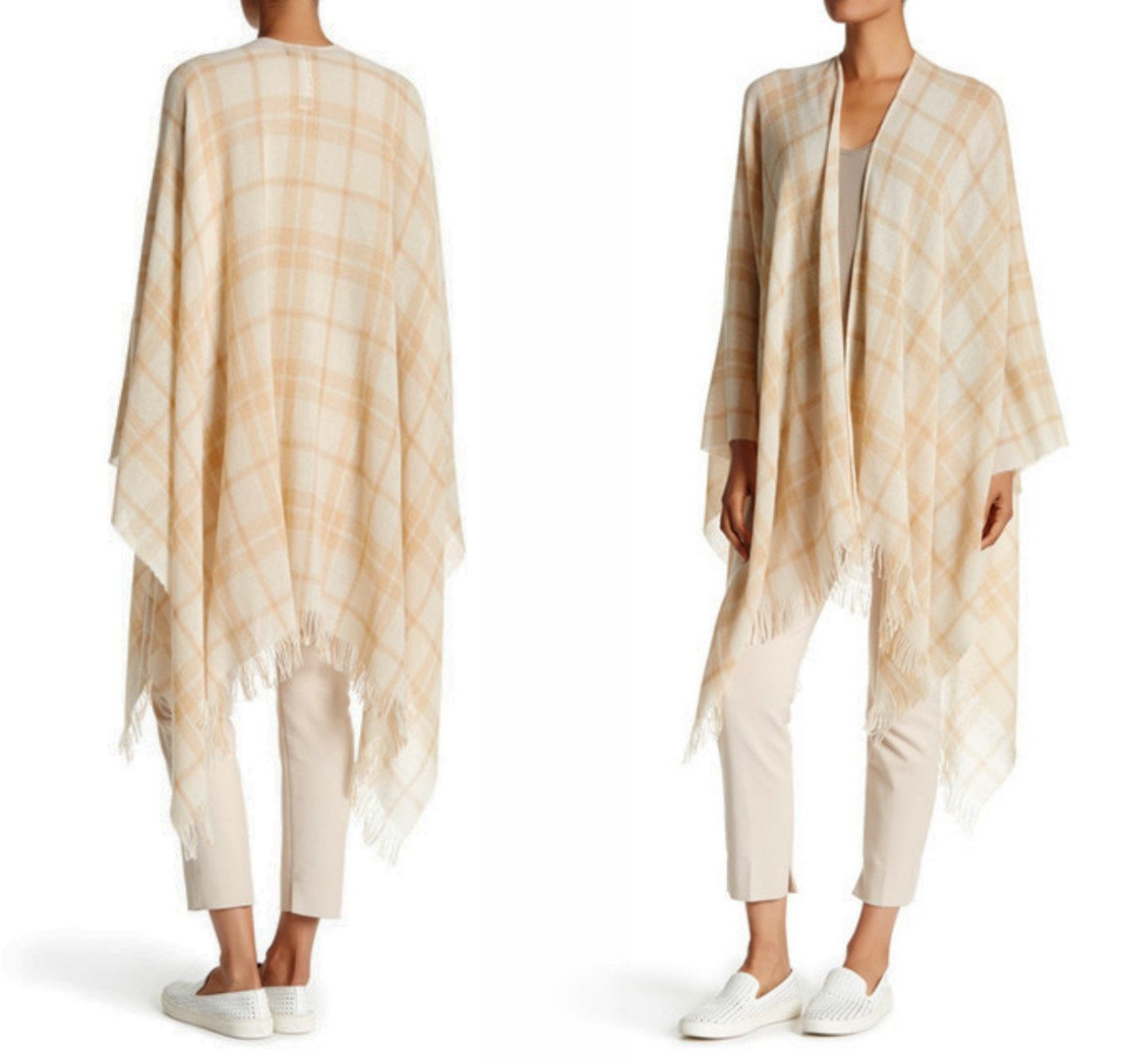 $218 Eileen Fisher Plaid Printed Wool Blend Poncho One Size Wheat Shawl Poncho NWT