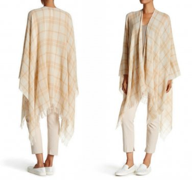 $218 Eileen Fisher Plaid Printed Wool Blend Poncho One Size Wheat Shawl Poncho NWT