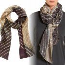Eileen Fisher Stripe Silk Scarf Ash Painterly Stripes Dip-dyed Neutral Palette