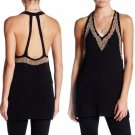 $118 Free People Bare Back Knit Top Medium 6 8 Black w Gold Trim Stretch Tunic