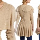 Anthropologie Ridged Ruffles Cardigan  Petite Small 2 4 Beige Romantic Sweater