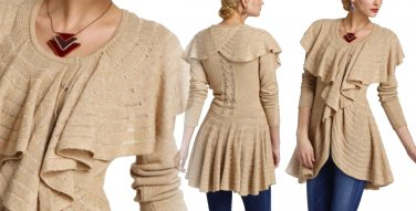 Anthropologie Ridged Ruffles Cardigan  Petite Small 2 4 Beige Romantic Sweater