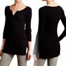 Anthropologie Baby Ribbed Henley Shirt Medium 6 8 Black Cotton Jersey Top SOFT