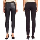 $378 Eileen Fisher Blocked Leather Leggings Petite Large Black Stretch Knit Back