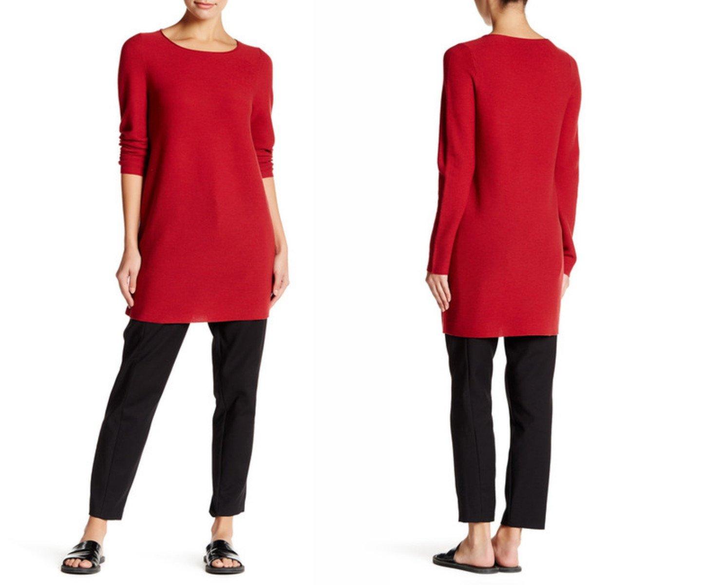 $298 Eileen Fisher Ballet Neck Long Sleeve Wool Mini Dress Petite Medium Red Brick
