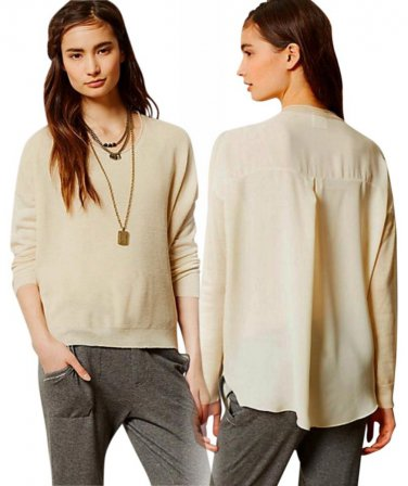 Anthropologie Ardsley Pullover Top Small 2 4 Ivory Sheer Chiffon Back