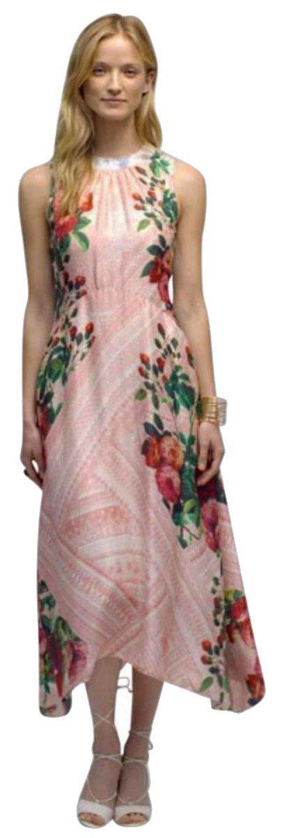 $198 Anthropologie Jardin de Rosas Midi Dress 6 Medium Pink Floral Print