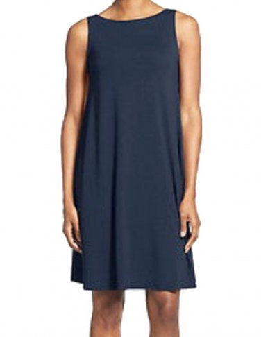 $178 Eileen Fisher Bateau Neck Jersey Knee Length Dress XXSmall Midnight Blue