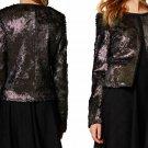 $248 Anthropologie Goldleaf Cropped Fur Jacket Small 2 4 Black Gold