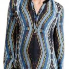 $265 Anthropologie Diamond Path Henley Large Blue Motif Cynthia Vincent