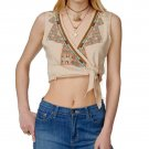 $98  Free People Around The World Tank Large 10 12 Pearl Cropped Embroidered