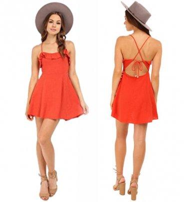 Free People Smile My Way Mini Dress Medium 6 8 Orange Whimsical
