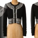 Anthropologie Brushed Lace Cropped Cardigan Small 2 4 Black Wool