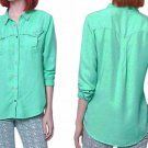 $88 Anthropologie Larita Buttondown 4 Small Shirt Top Blouse Western Inspired Green