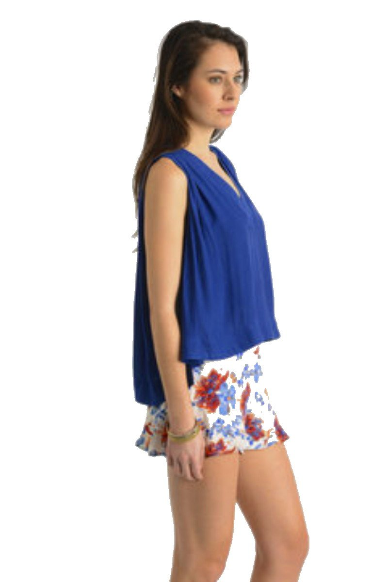 $68 Free People Grecian Goddess Tank XSmall 2 4 Blue Drapey V-neck High Low