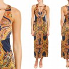 $148 Free People Strapped Up Midi Dress Medium 6 8 Print Revealing Low Front NWT