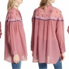 Free People Girl In Love Long Sleeve Shirt Small 2 4 Pink Rose