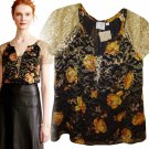 Anthropologie Disa Velvet Burnout Top Medium Black Bohemian HD in Paris