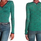 Free People Lace Long Sleeve Shirt XSmall 0 2 Green Contrast Trim
