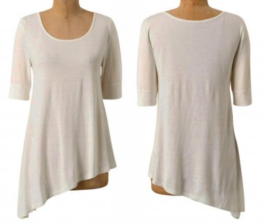 Anthropologie Fluttered Hem Tee Top Blouse Small 2 4 White  Pure & Good