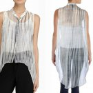 $278 Eileen Fisher Silk Printed Button-Down Top Petite P Graphite Grey NWT