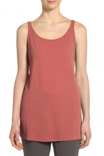 $148 Eileen Fisher Silk Jersey Scoop Neck Long Tank Small 6 8 Sandstone PInk