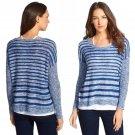 $198 Eileen Fisher Organic Linen Stripe Scoop Neck Knit Top XLarge 18 Blue