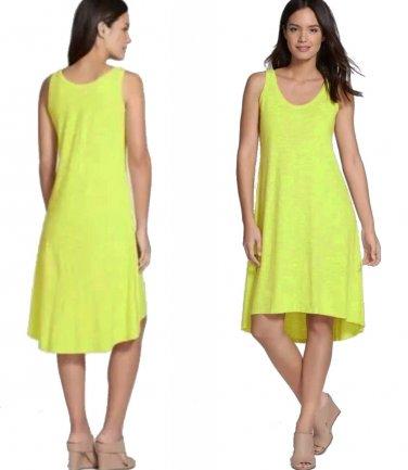 $188 Eileen Fisher Hemp + Organic Cotton Tank Dress XSmall 2 4 Yellow Honeydew