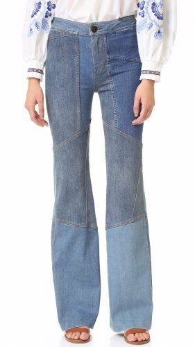 $168 Free People Alissas Patchwork Flare Jeans 25 Blue Denim Pants