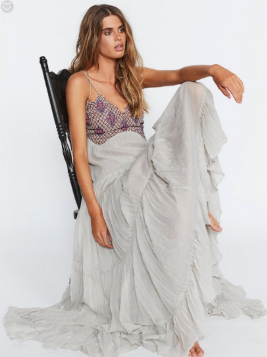 $500 Free People Lost In A Dream Maxi Dress 8 Medium Silver Beaded Strappy Back