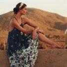 Anthropologie Heatwave Cool Off Midi Dress Petite XSmall P0 P2 Navy