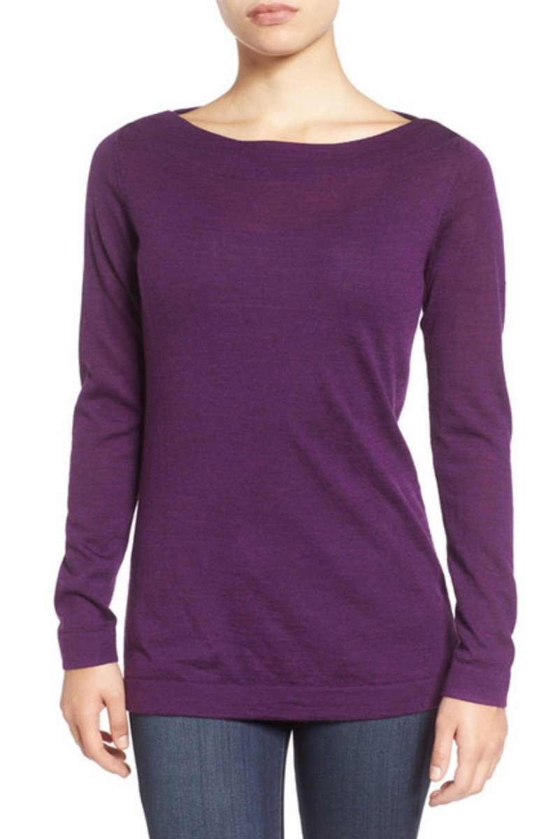 $218 Eileen Fisher Fine Merino Bateau Neck Top Large 14 16 Purple Raisonette
