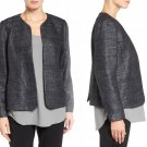 $338 Eileen Fisher Hand Loomed Sparkle Matka Silk Jacket 8 Medium Black Metallic