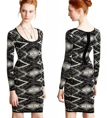 $148 Anthropologie Jacquard Sweater Dress Sheath Small 2 4 Black + White Tracey Reese
