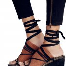 $178 Free People Bowery Ankle Tie Wedge Sandals 38 Shoes Black + Tan Boho Wedge
