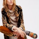 Free People Jacquard Blocked Coat Small 2 4 Black Motif shimmering Tapestry