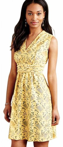 Anthropologie Lots of Lace Dress 10 Large Yellow over Blue Plenty Tracy Reese