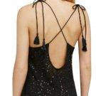 Free People Seeking Sequins Slip Dress XSmall 0 2 Black Cross Back Tasseled Ties